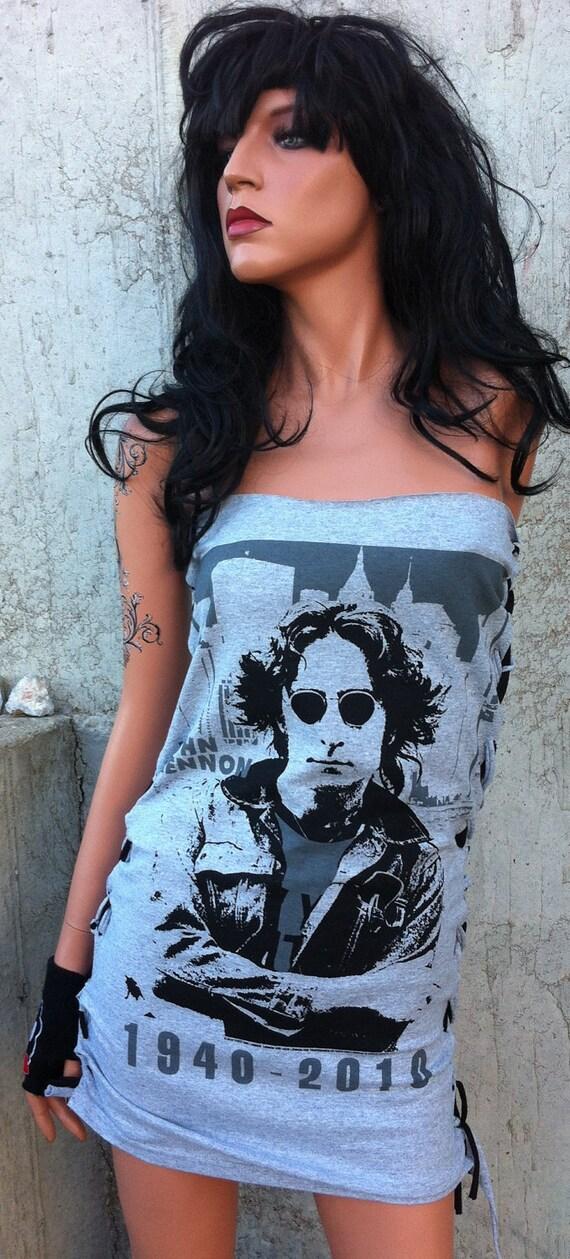 John Lennon Gray Shredded Mini Dress SALE