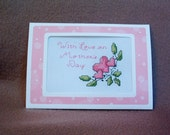 With Love on Mothers Day Completed Handmade Counted Cross Stitch Greeting Card
