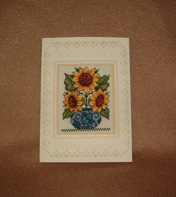 Sunflower Handmade Completed Counted Cross Stitch Greeting Card Any Holiday or Event