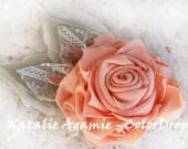 hair clip -  Beige & Pink Peach