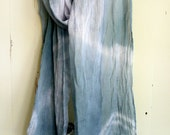 Tie dye scarf, long cotton ombre scarf hand dyed in pale blue and green
