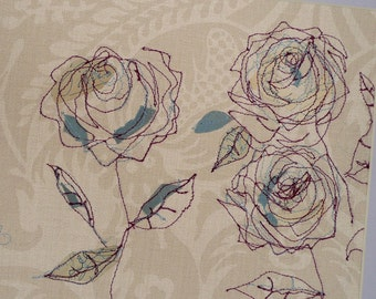 Mixed media illustration - free embroidered rose illustration - original embroidery - original textile art - original fiber art