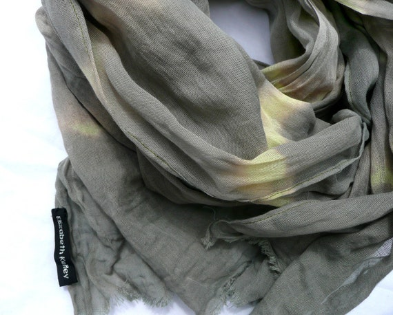 Hand dyed scarf, long cotton green and yellow hand dyed cotton scarf