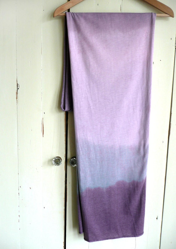 Ombre cotton jersey scarf - long purple, blue and pink scarf - hand dyed cotton jersey scarf