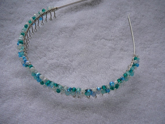 Wire Wrapped Beaded Headband - Blue White Turquoise