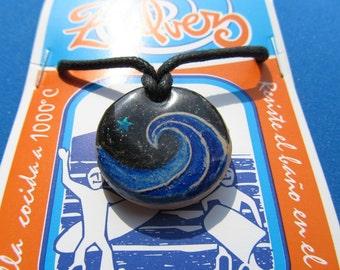 WAVE and STAR.  ZALVEZ pendant for surfers. blue cobalt colour