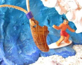 OAK KEEL SURFBOARD   wood carving pendant by zalvez