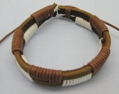 White and Brown color rope with leather made this cuff bracelet