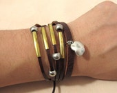 Copper and alloys flowers and beads leather bracelet  Fashion Leather Bracelet LL28