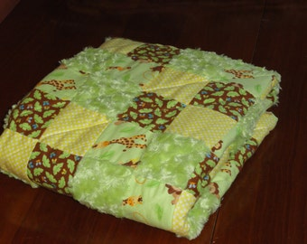 Patchwork Flannel and Minky Fur Jungle Animals Baby Quilt, soft greens, yellow and brown