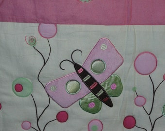 Baby Girl Quilt  with Butterflies and Modern Flowers, Pink and Green