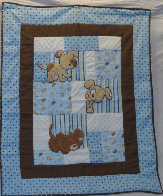 Peek A B00 Puppy Applique Baby Blue Quilt, perfect for little boys, the softest flannels.  So, so soft whites and blues