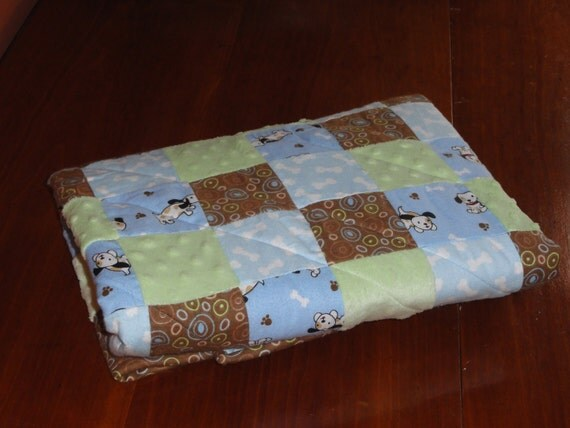 Patchwork Flannel and Minky Puppy Dog Baby Quilt
