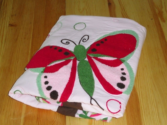 Butterflies in Pink and Green, Chenille appliqued Baby Quilt for little girls.