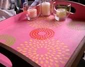 Wood Tray Hand Painted with three hand painted tea light candle holders and candles