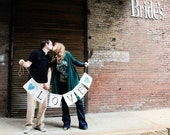 White Burlap Love banner with Glitter Hearts