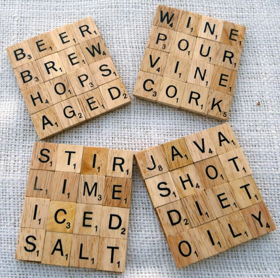 Two Scrabble Coasters Set -- personalize it