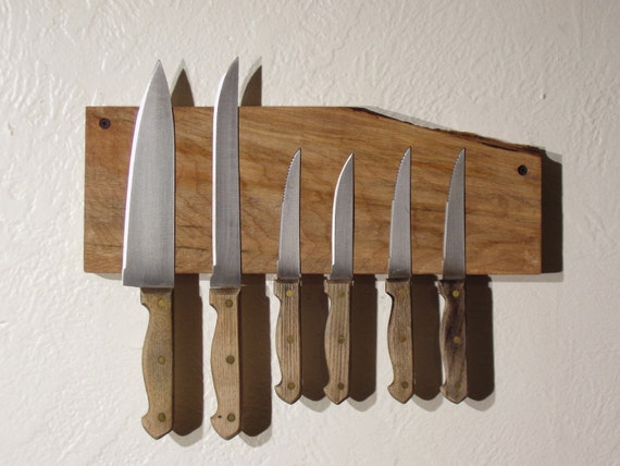 Live Edge Knife Rack in Spalted Maple. Free Shipping.