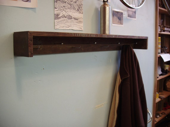 Rustic Industrial Shabby-Chic Coat Rack with Motorcycle Spoke Hooks.
