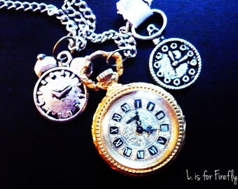Time is running out - Antique pocket watch necklace