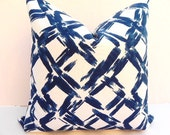 Both Sides-20x20-Decorative Pillow Cover-Geometric Trellis Print Home Decor Fabric-Blue-White-Throw Pillow
