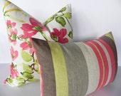 Striped Braemore Decorative Pillow Cover 14X20-Home Decor Fabric-Lumbar Pillow-Toss Pillow-Grey-Pink-Green