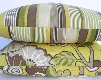 SALE-Stripe P Kaufmann-BOTH SIDES-20X20 Pillow Cover-Indoor-Outdoor-Designer Home Decor Fabric-Throw Pillow-Accent Pillow-Chartreuse-Brown