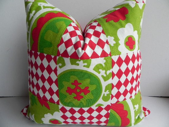 Sale - Christmas Patchwork 20X20 Pillow Cover-Premier Prints Home Decor Fabric-Chartreuse Green Lipstick Red-Throw Pillow-Holiday Pillow