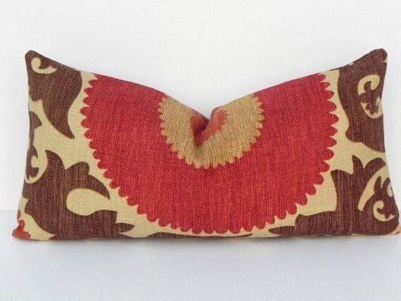 Suzani Fahri BOTH SIDES 10X20 Pillow Cover Braemore Designer Home Decor Fabric-Throw Pillow-Accent Pillow-Lumbar Pillow-Red