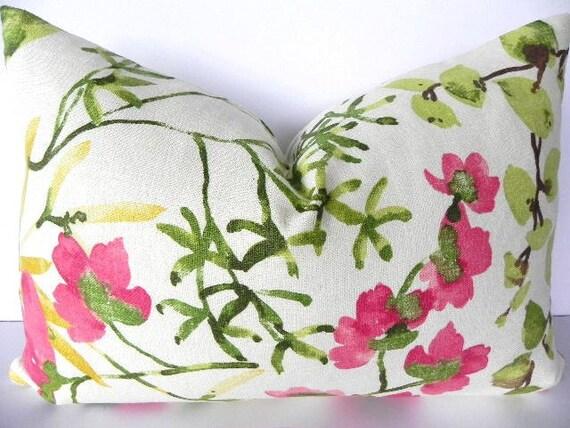 Floral Braemore Decorative Pillow Cover 14X20-Home Decor Fabric-Lumbar Pillow-Toss Pillow-Grey-Pink-Green