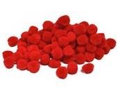 "1/2"" Xmas Red Pom Poms (100pc)"
