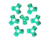 1,000 Transparent Green Tri-Shaped Beads
