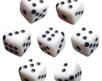 30 White Dice Beads