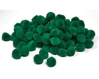 "1"" Xmas Green Pom Poms (40pc)"