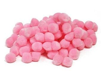"1/2"" Pink Pom Poms (100pc)"