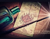 Harry Potter Inspired 5x7 Photo Marauder's Map and Wand Professional Print
