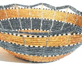 BEADED BOWL - Hand crafted in Africa - Made of Wire and Beads -Beaded Art