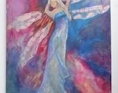 African Art - DREAMING ANGEL -  Acrylic on Canvas - Original Artwork - Artist David Rubin