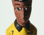 Hand carved SOCCER PLAYER  From South Africa  -Wooden Sculpture by an Artist Craftsman