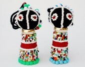 PAIR Of ZULU  DOLLS -  Beautifully Hand  Made  In  Africa  -  Beaded  Details -  Free Shipping