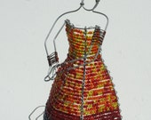 BEADED LADY  From AFRICA  -  Hand Crafted from Wire and Glass beads  -  Free Shipping