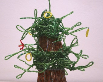 """BEADED  BAOBAB  TREE  - Wire and Beads - Hand Made in Africa- Unusual art piece of the """"Upside Down Tree"""" One of a kind treasure from Africa"""