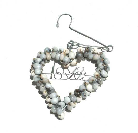 ZULU Beaded Heart with Wire LOVE Word. Hand Made in AFRICA. Free Shipping. Beads called Imfibinga or River beads. Hanging beauty from Africa