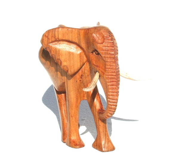 WOODEN ELEPHANT  Hand carved in Africa - BIG 5