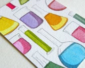 Aceo original watercolor Chemistry colorful illustration