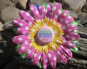 Easter Flower Hair Clip - Pink Yellow Green Blue Flower Hair Bow - Polka Dot Bottlecap Hair Bow