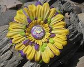 Owl Flower Hair Clip - Owl Hair Bow - Flower Hair Clip - Yellow Hair Clip - Purple Hair Clip - Green Hair Clip