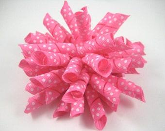 Pink Polka Dot Korker Bow  -  Pink Korker Hair Clip - Pink Hair Bow - Korker Hair Bow - Polka Dot Hair Bow