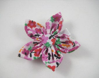 Flower Hair Clip - Flower Hair Bow - Kanzashi Flower - Spring Fabric Hair Clip