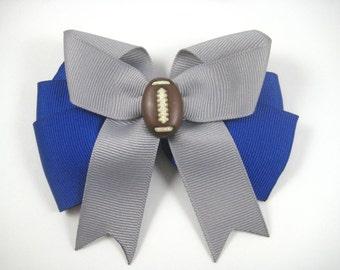 Football Hair Bow - Sports Hair Bow - Custom Team Colors Football Hair Clip - Football - Sports - You pick 2 team colors